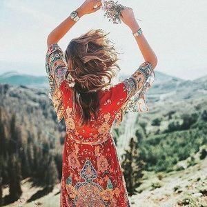 💕Bohemian Gypsy Lotus Dress